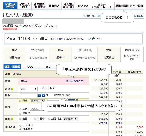 みずほ銀行単元株購入画面